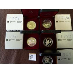 1 dollar Proof 1979, 1980, 1981, 1982 & 1983 in case with COA. Lot of 5 coins.