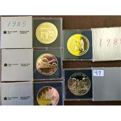 1 dollar 1985, 1986, 1987, 1988 & 1989 Bright Uncirculated. Lot of 5 coins.
