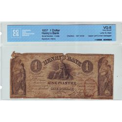 Henry's Bank; 1 dollar note 1837, Charlton # 357-12-02, serial 11028, CCCS VG-8; Letter B, Stain, Up