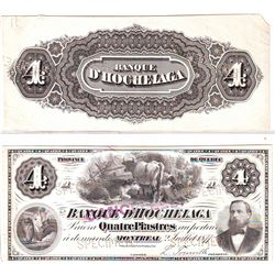 Banque d'Hochelaga; 4 dollars Proof Face and Back 1874, Charlton # 360-10-02B & P, EF/AU. Very rare.