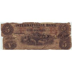 International Bank of Canada; 5 dollars note 1858, Charlton # 380-10-10-16, serial 12013, Good with