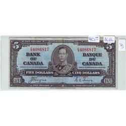 Bank of Canada; 5 dollars note 1937, BC-23c, serial C/S4086817, VF-20.