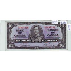 Bank of Canada; 10 dollars note 1937, BC-24b, serial R/D3897236, AU-55.