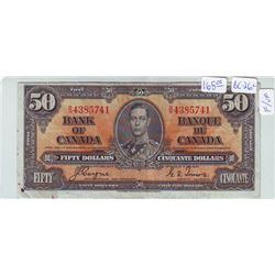 Bank of Canada; 50 dollars note 1937, BC-26c, serial B/H4385741, F-15.