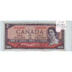 Bank of Canada; 2 dollars Devil's Face note 1954, BC-30a, serial A/B2463889, VF-20.