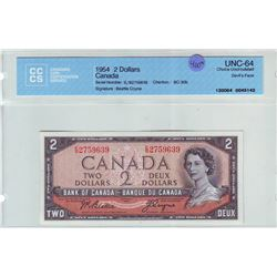 Bank of Canada; 2 dollars Devil's Face note 1954, BC-30b, serial E/B2759639, CCCS UNC-64.