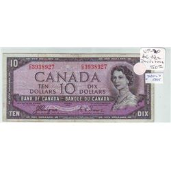 Bank of Canada; 10 dollars Devil's Face note 1954, BC-32a, serial C/D3938927, VF-20.