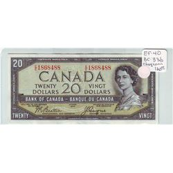 Bank of Canada; 20 dollars Devil's Face note 1954, BC-33b, Changeover, serial E/E1868488, EF-40.