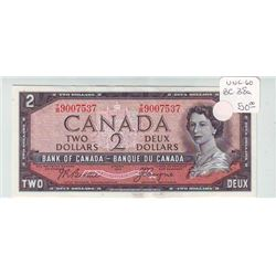 Bank of Canada; 2 dollars note 1954, BC-38a, serial T/B9007537, UNC-60.