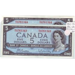 Bank of Canada; 5 dollars note 1954, BC-39b, serial B/X0761343 - 344, both AU-55, light wallet fold.