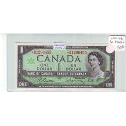 Bank of Canada; 1 dollar replacement note 1967, BC-45bA-i, serial *B/M1296455, UNC-63.