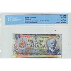 Bank of Canada; 5 dollars note 1972, BC-48b, serial SM4970999, CCCS VF-20; Cut Out of Register up to
