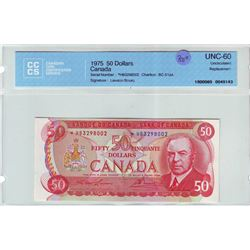 Bank of Canada; 50 dollars replacement note 1975, BC-51aA, serial *HB3298002, CCCS UNC-60.