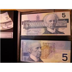 Bank of Canada; 5 dollars note 1986 & 2001 with same serial number ANU6973267 sold in a souvenir boo