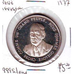 René Levesque Silver 999 Medal from 1977 in Proof.