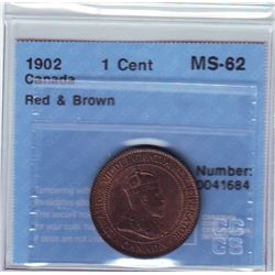 1 cent 1902, CCCS MS-62; Red & Brown.
