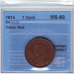 1 cent 1914, CCCS MS-60; Trace Red.