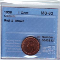 1 cent 1936, CCCS MS-63; Red & Brown.