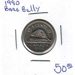 5 cents 1990 Bare Belly EF-40.