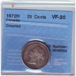 25 cents 1872H, CCCS VF-20; Cleaned.