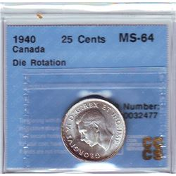 25 cents 1940, CCCS MS-64; Die Rotation 45 degree.