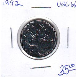 25 cents Caribou 1992 UNC-66 from RCM Uncirculated Set (Proof Like Set).