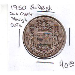 50 cents 1950; No Design 0, Die Crack Through Date.