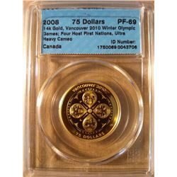 $75.00 Gold 2008, 14k gold, Vancouver 2010 Winter Olympic Series, Four Host First Nations, CCCS PF-6