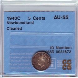Newfoundland 5 cents 1940C, CCCS AU-55; Cleaned.