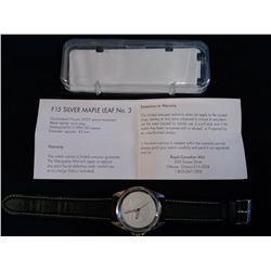 Royal Canadian Mint Watch; Maple Leaf Fabulous 15 Dial in box with COA, new.