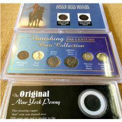 USA; The Original New York Penny in case, Vanishing 20th Century Collection & 19th & 20th Century In