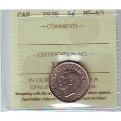 5 cents 1938 in ICCS MS-63.