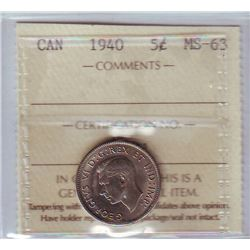 5 cents 1940 in ICCS MS-63.