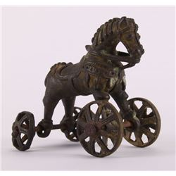 19th Century, India bronze child's horse pull toy.