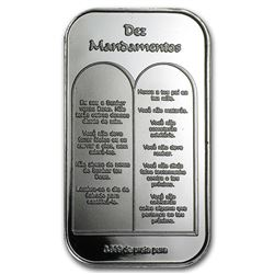 1 Oz Silver Bar Ten Commandments Portuguese Nice Gift For