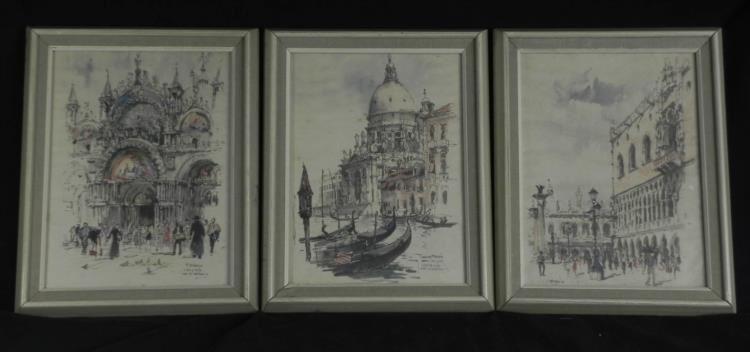 Image 1 set of 3 visions of venice original pencil drawings