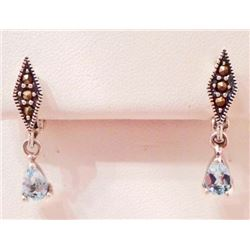 PAIR OF STERLING SILVER TOPAZ AND MARCASITE EARRINGS