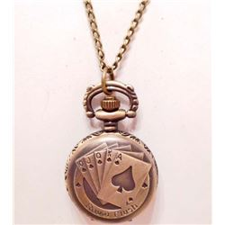 ROYAL FLUSH POCKET WATCH W/ CHAIN