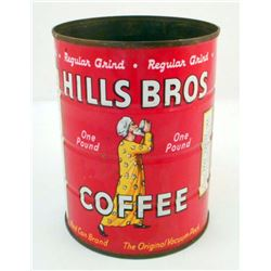 VINTAGE HILLS BROS ADVERTISING COFFEE CAN