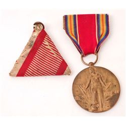 LOT OF 2 VINTAGE MILITARY MEDAL AND RIBBONS