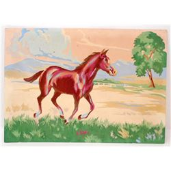 """VINTAGE PAINT BY NUMBER RUNNING HORSE PAINTING 10"""" X 14"""""""