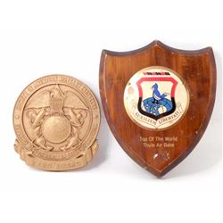 LOT OF 2 VINTAGE USA MILITARY AWARD PLAQUES