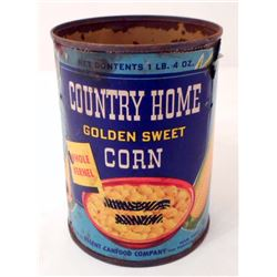 VINTAGE COUNTRY HOME CREAMED CORN ADVERTISING CAN