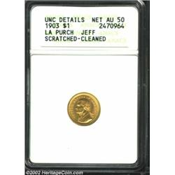 1903 G$1 Louisiana Purchase/Jefferson--Scratched, Cleaned--ANACS. Unc Details, Net AU50. Only lightl