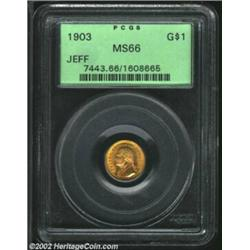 1903 G$1 Louisiana Purchase/Jefferson MS66 PCGS. Gorgeous reddish-gold colors envelop surfaces that.