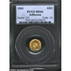 1903 G$1 Louisiana Purchase/Jefferson MS66 PCGS. Orange-gold in color, the surfaces are expectantly.
