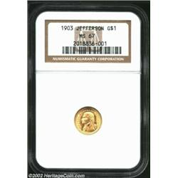 1903 G$1 Louisiana Purchase/Jefferson MS67 NGC. Golden-rose in sheen, the silky smooth surfaces are.