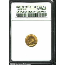 1903 G$1 Louisiana Purchase/McKinley--Cleaned--ANACS. Unc Details, Net AU55. A well struck and faint