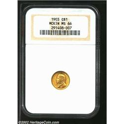 1903 G$1 Louisiana Purchase/McKinley MS66 NGC. Lustrous and virtually unblemished with orange-gold c