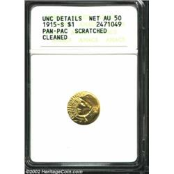 1915-S G$1 Panama-Pacific Gold Dollar--Scratched, Cleaned--ANACS. Unc Details, Net AU50. A bright an